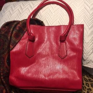 Vinyl tote, red, NEW